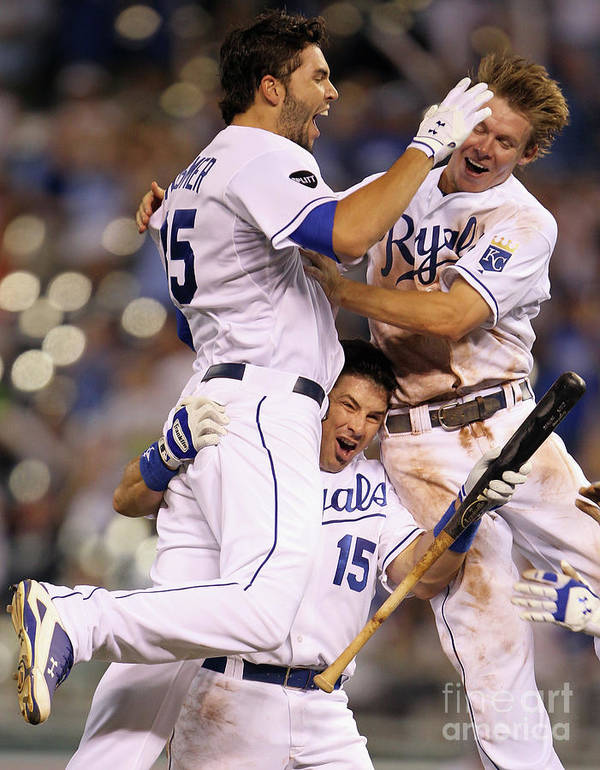 American League Baseball Poster featuring the photograph Eric Hosmer, Matt Treanor, and Chris Getz by Jamie Squire