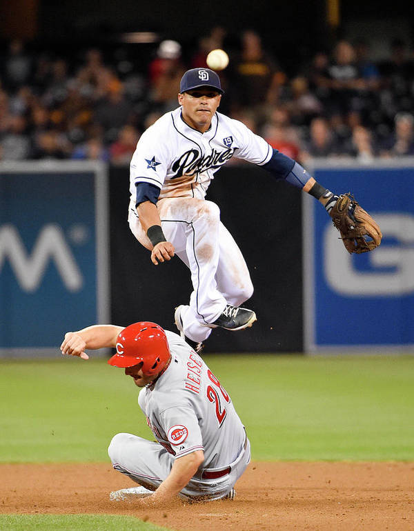 Double Play Poster featuring the photograph Everth Cabrera and Chris Heisey by Denis Poroy