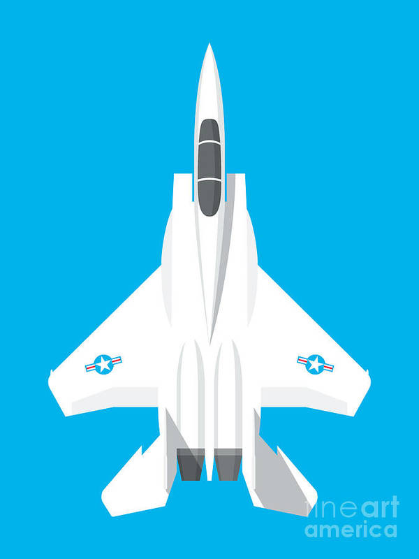 Jet Poster featuring the digital art F-15 Eagle Fighter Jet Aircraft - Blue by Organic Synthesis