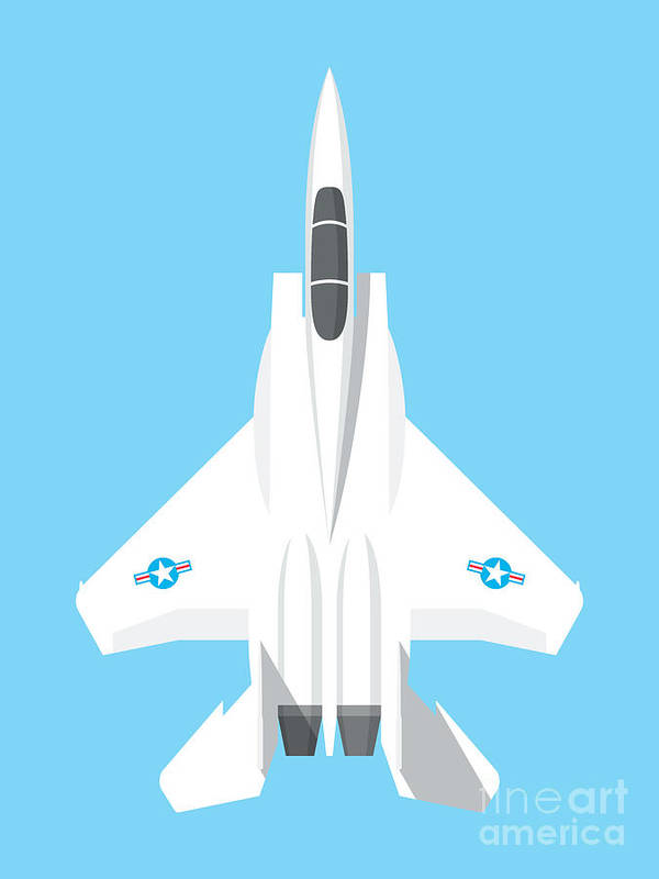 Jet Poster featuring the digital art F-15 Eagle Fighter Jet Aircraft - Sky by Organic Synthesis