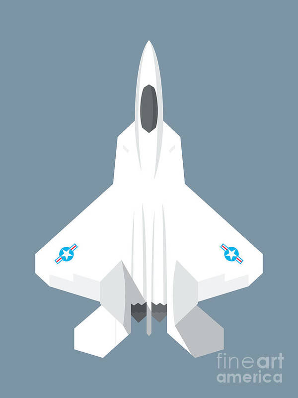 Jet Poster featuring the digital art F-22 Raptor Jet Fighter Aircraft - Slate by Organic Synthesis