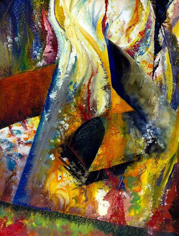 Rustic Poster featuring the painting Fire Abstract Study by Michelle Calkins
