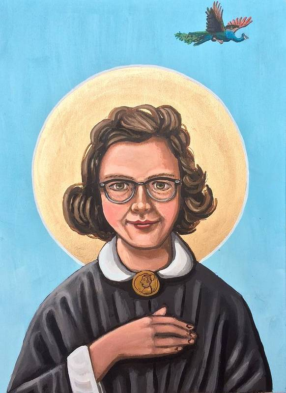 Poster featuring the painting Flannery O' Connor by Kelly Latimore