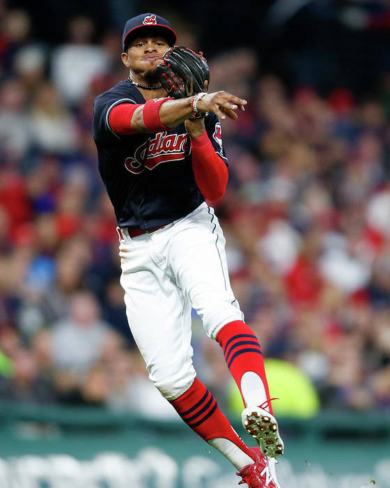 People Poster featuring the photograph Francisco Lindor by Ron Schwane