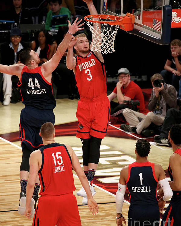 Smoothie King Center Poster featuring the photograph Frank Kaminsky and Domantas Sabonis by Gary Dineen