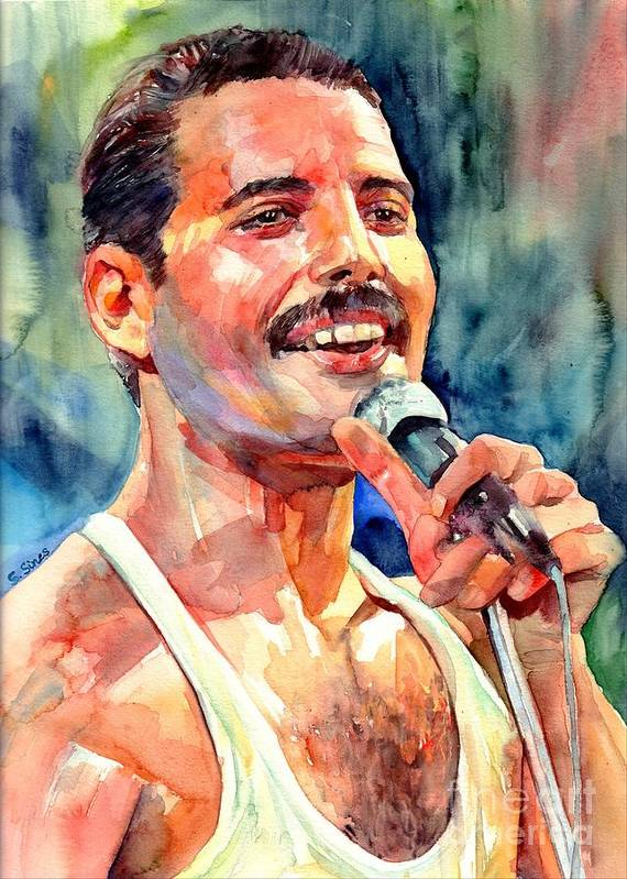 Freddie Mercury Poster featuring the painting Freddie Mercury Live Aid by Suzann Sines