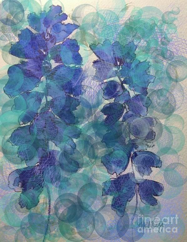 Floral Flowers Garden Blue Aqua Poster featuring the digital art Garden Blues by Gail Kirtz
