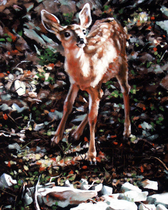 Deer Poster featuring the painting Garden Ornament by Dianna Ponting