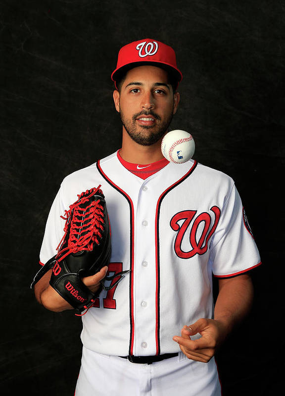 Media Day Poster featuring the photograph Gio Gonzalez by Rob Carr