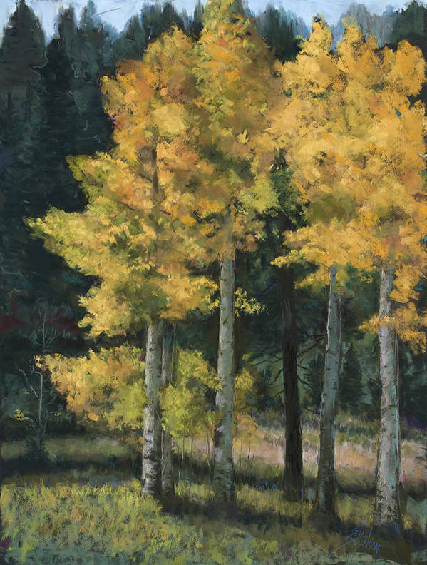 Aspens Poster featuring the pastel Golden Hour by Billie Colson