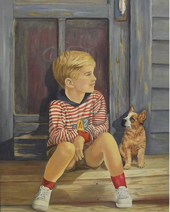 A Young Boy And His Dog Poster featuring the painting Grandpas Country Store by Wanda Dansereau