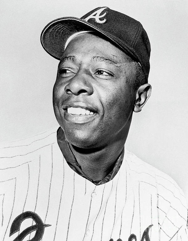 National League Baseball Poster featuring the photograph Hank Aaron by National Baseball Hall Of Fame Library