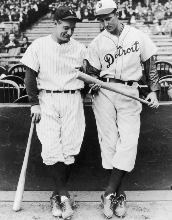 Baseball Cap Poster featuring the photograph Hank Greenberg and Lou Gehrig by Fpg