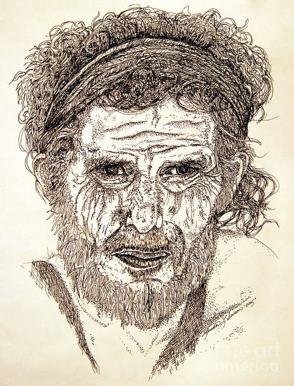 Man Poster featuring the drawing Hobo by Linda Simon