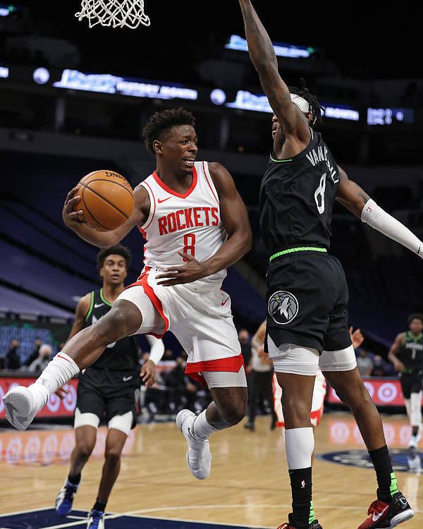 Nba Pro Basketball Poster featuring the photograph Houston Rockets v Minnesota Timberwolves by Jordan Johnson