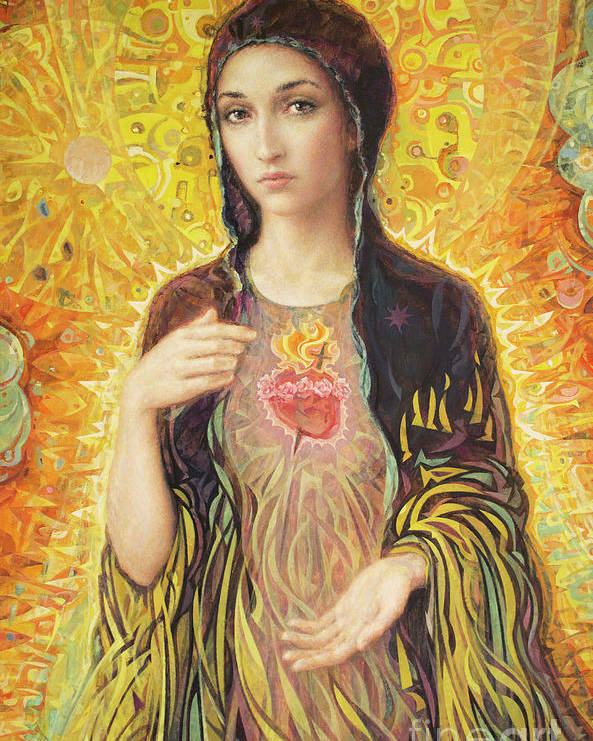 Immaculate Heart Of Mary Poster featuring the painting Immaculate Heart of Mary olmc by Smith Catholic Art