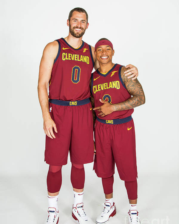 Media Day Poster featuring the photograph Isaiah Thomas and Kevin Love by Michael J. Lebrecht Ii