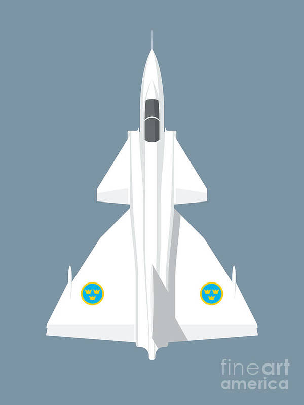 Viggen Poster featuring the digital art J37 Viggen Jet Aircraft - Slate by Organic Synthesis