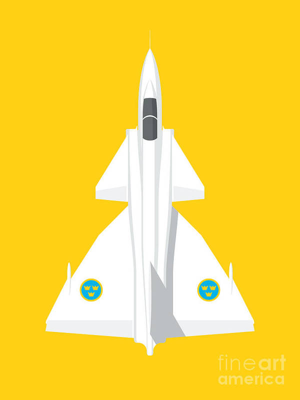 Viggen Poster featuring the digital art J37 Viggen Jet Aircraft - Yellow by Organic Synthesis
