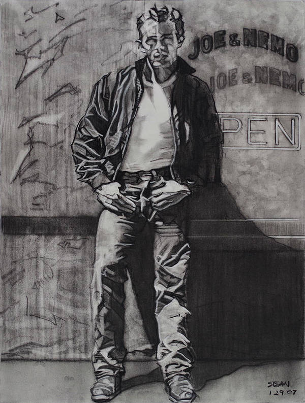 Charcoal On Paper Poster featuring the drawing James Dean by Sean Connolly