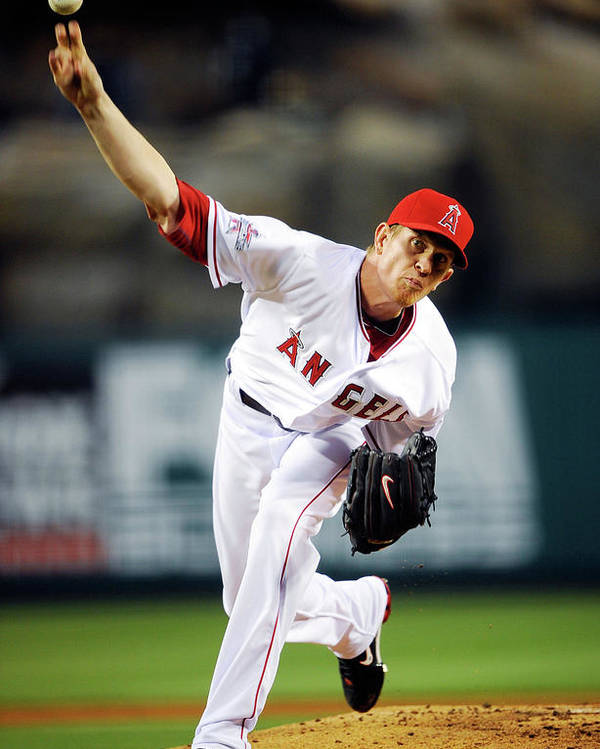 American League Baseball Poster featuring the photograph Jered Weaver by Kevork Djansezian