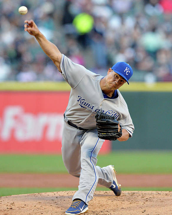 American League Baseball Poster featuring the photograph Jeremy Guthrie by Brian Kersey