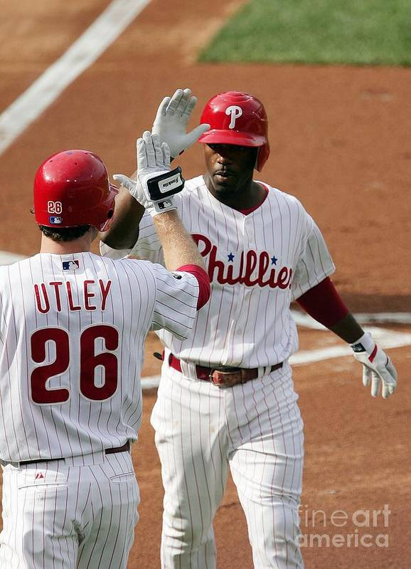 Game Two Poster featuring the photograph Jimmy Rollins And Chase Utley by Drew Hallowell