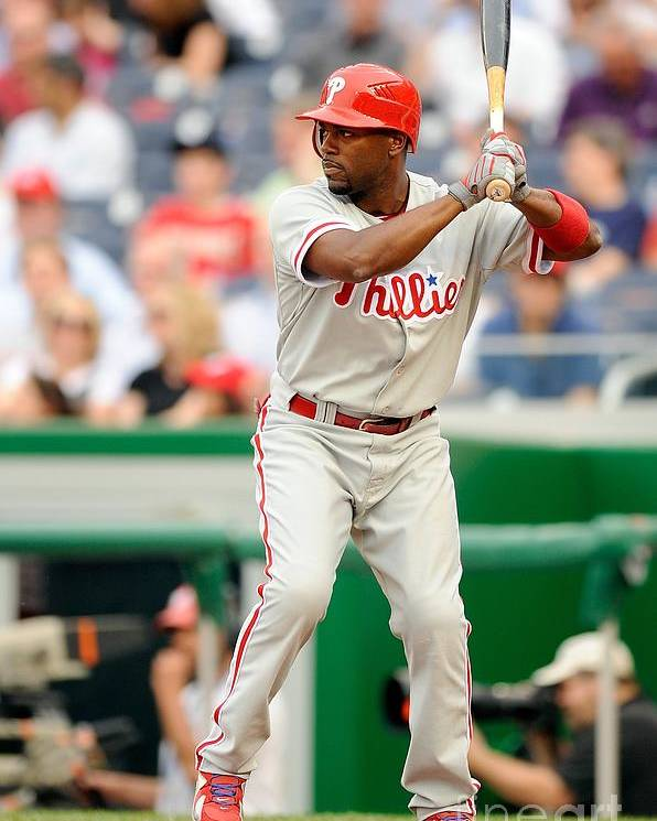 National League Baseball Poster featuring the photograph Jimmy Rollins by G Fiume