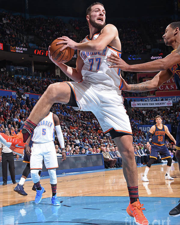Nba Pro Basketball Poster featuring the photograph Joffrey Lauvergne by Andrew D. Bernstein