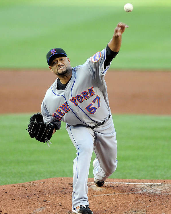 Baseball Pitcher Poster featuring the photograph Johan Santana by Greg Fiume