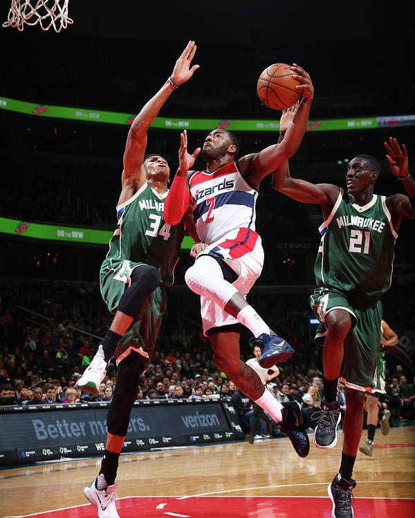 Nba Pro Basketball Poster featuring the photograph John Wall and Giannis Antetokounmpo by Ned Dishman