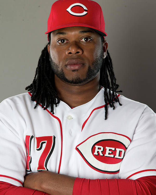 American League Baseball Poster featuring the photograph Johnny Cueto by Mike Mcginnis