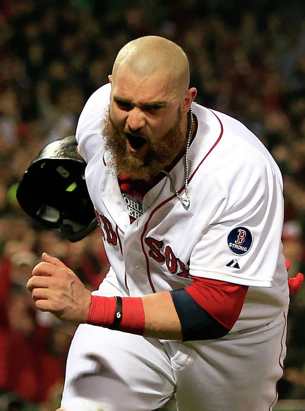 Playoffs Poster featuring the photograph Jonny Gomes and Shane Victorino by Jamie Squire