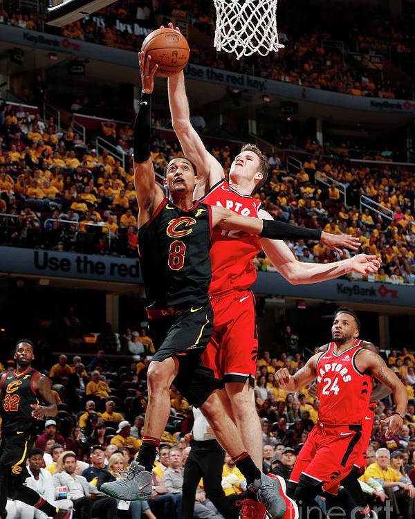 Playoffs Poster featuring the photograph Jordan Clarkson and Jakob Poeltl by Jeff Haynes