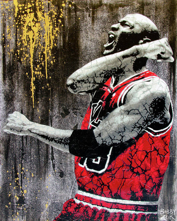 Michael Jordan Poster featuring the painting Jordan - The Best There Ever Was by Bobby Zeik