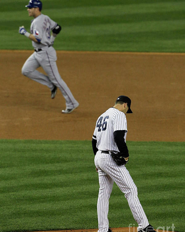 Playoffs Poster featuring the photograph Josh Hamilton and Andy Pettitte by Jim Mcisaac
