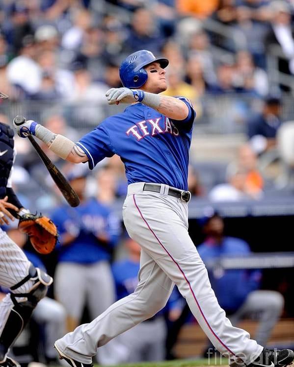 American League Baseball Poster featuring the photograph Josh Hamilton by Rob Tringali/sportschrome