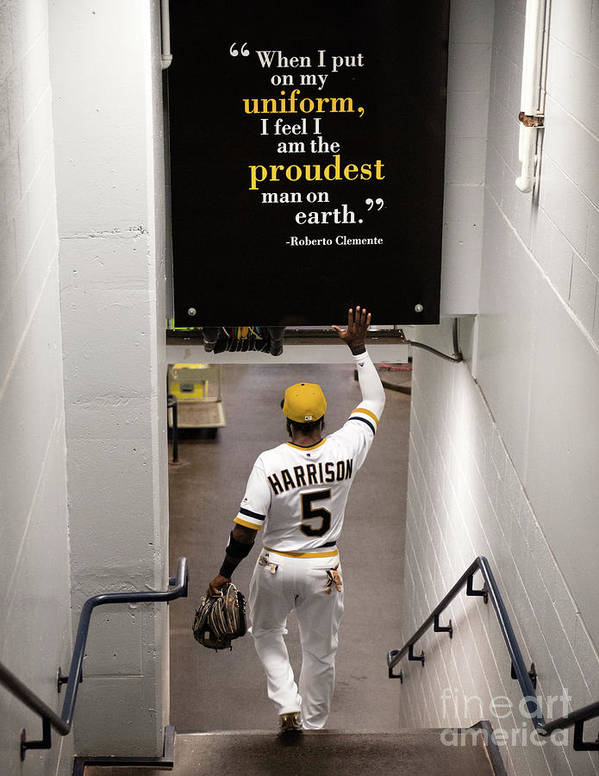 People Poster featuring the photograph Josh Harrison and Roberto Clemente by Justin Berl