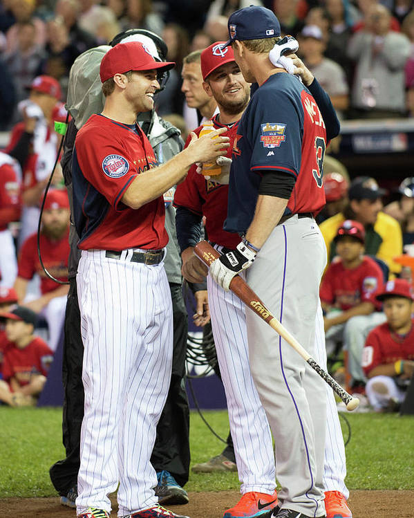 American League Baseball Poster featuring the photograph Justin Morneau, Glen Perkins, and Brian Dozier by Ron Vesely
