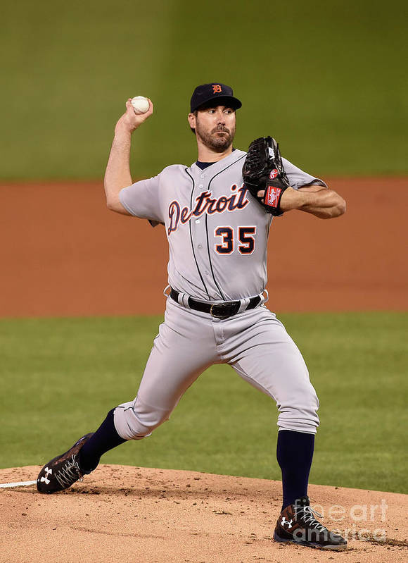 Game Two Poster featuring the photograph Justin Verlander by Hannah Foslien