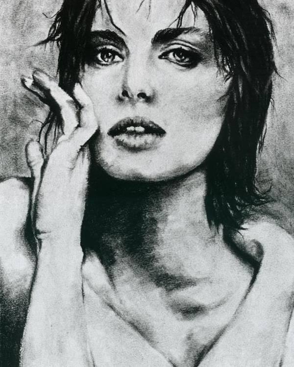 Nastassja Poster featuring the drawing K by Ayka Yasis