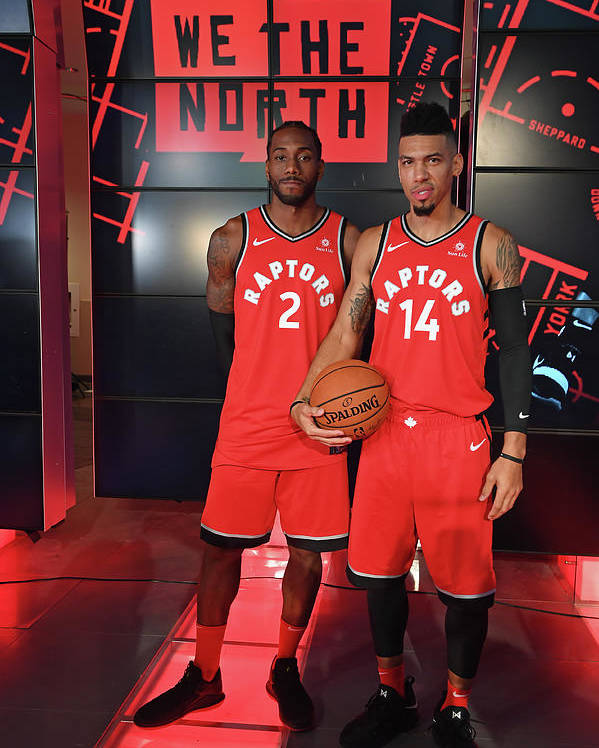 Media Day Poster featuring the photograph Kawhi Leonard and Danny Green by Ron Turenne