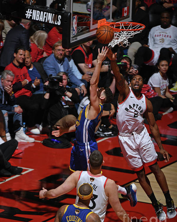 Playoffs Poster featuring the photograph Kawhi Leonard and Klay Thompson by Garrett Ellwood