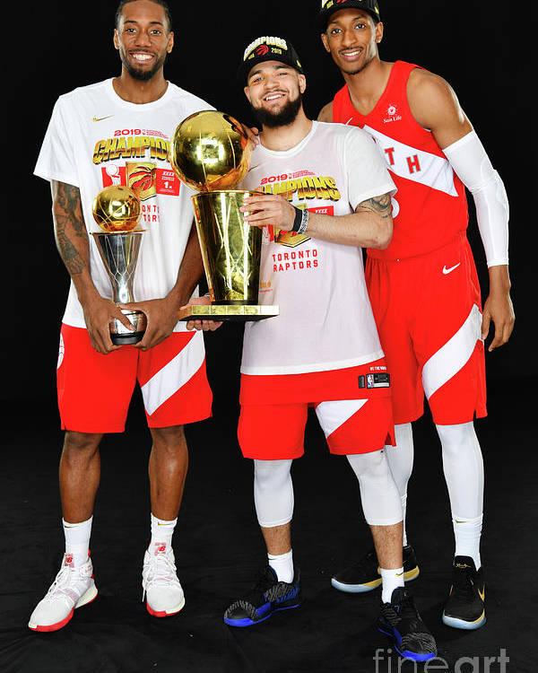 Playoffs Poster featuring the photograph Kawhi Leonard, Fred Vanvleet, and Malcolm Miller by Jesse D. Garrabrant