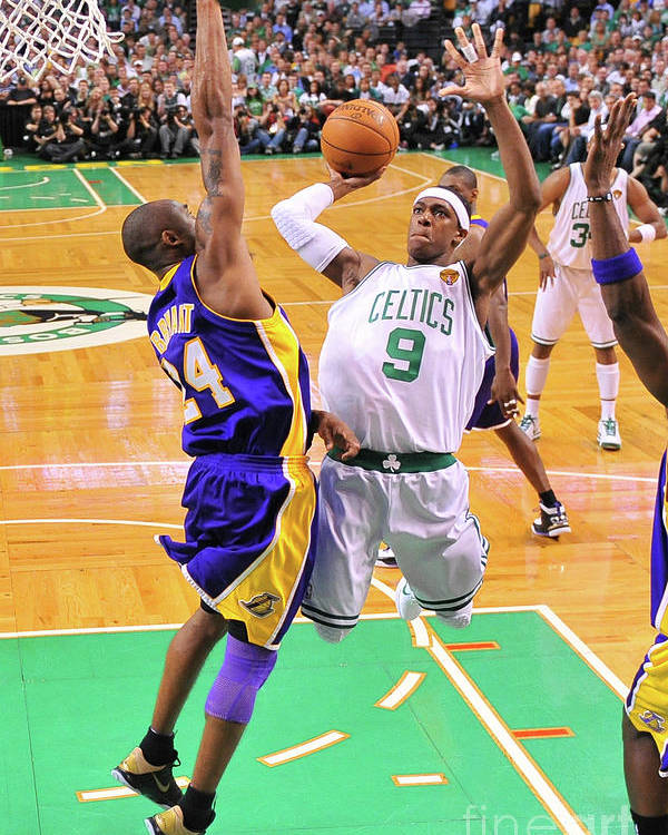 Playoffs Poster featuring the photograph Kobe Bryant and Rajon Rondo by Brian Babineau
