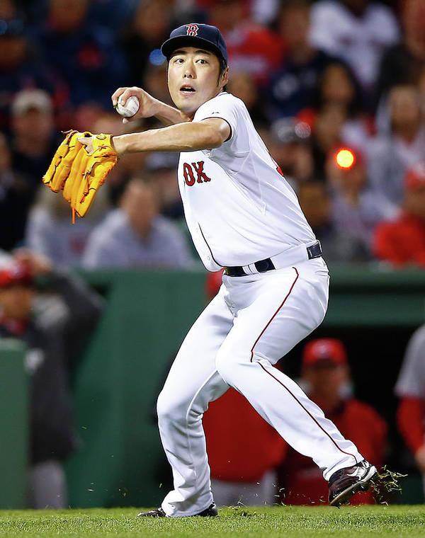 American League Baseball Poster featuring the photograph Koji Uehara by Jared Wickerham