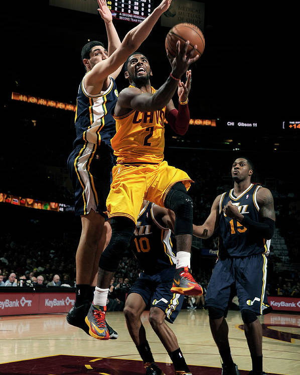 Nba Pro Basketball Poster featuring the photograph Kyrie Irving and Enes Kanter by David Liam Kyle