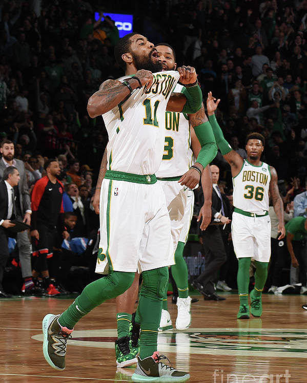 Nba Pro Basketball Poster featuring the photograph Kyrie Irving and Marcus Morris by Brian Babineau