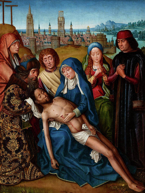 Legend Of Saint Lucy Poster featuring the painting Lamentation With Saint John The Baptist And Saint Catherine Of Alexandria, 1501 by Master of the Legend of Saint Lucy