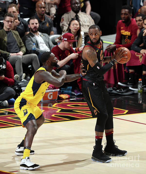 Playoffs Poster featuring the photograph Lance Stephenson and Lebron James by Nathaniel S. Butler